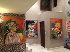 """Tryptic by Karel Willems Acrylic on paper """"Zoë Karel & Lize"""""""