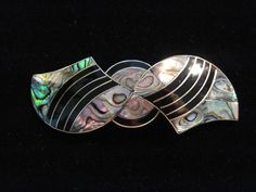Large Clip Hair Barrette, Blue- Black, Abalone Silver Plated Upstream Trading Co #UpstreamTradingCompany #Barrette