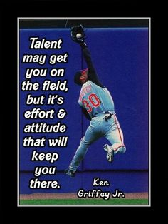Baseball Motivation Poster Ken Griffey Jr Photo Quote Wall Art Talent May Get You On Field But Effort & Attitude -Free USA Ship by ArleyArt on Etsy baseball quotes Baseball Tips, Better Baseball, Baseball Mom, Baseball Stuff, Baseball Crafts, Baseball Birthday, Baseball Wall Decor, Baseball Movies, Dodgers Baseball