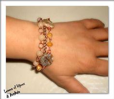 3029/107 bracciale a tre giri di polso. Handmade, Italy, copper, cobre, pearl