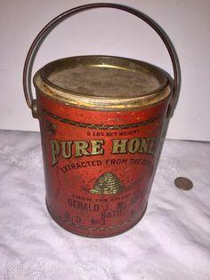 Antique Honey Bucket/Tin With Handle G.Smith Bath NY Bee Hive Graphics  | eBay