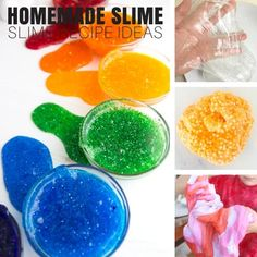 This homemade slime recipe makes the perfect slime. Make slime for cool kids science with a variety of homemade slime recipes we love! Slime science.