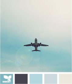 Color: Aero Tones by Design Seeds - medium blue, deep purple, sky blue, light blue, grey.