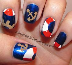 nautical nail art   Some darker brown acrylic paint on the anchors and wheel for shading.