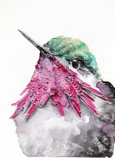 ARTFINDER: humming-bird-art print from watercolo... by Karolina Kijak - humming-bird, Hand Signed Print from Original watercolors painting Paper 200g, size 12x18cm