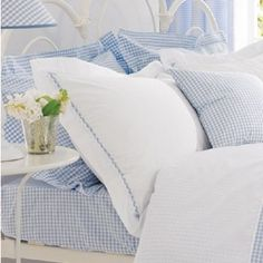 love the soft blue gingham sheets Gingham Quilt, Blue Gingham, White Pillows, Bed Pillows, Light Blue Bedding, Shabby Chic Bedrooms, Blue Bedrooms, Buy Bed, White Cottage