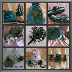 Peacock Feather Weddings Teal Ring Bearer Pillow, Peacock Weddings Accessories Decor. $48.00, via Etsy.