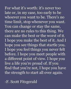I just love it. F. Scott Fitzgerald.