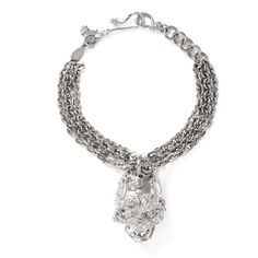 Alexander Mcqueen Crystal forest rose skull bracelet ($440) ❤ liked on Polyvore featuring jewelry, bracelets, metallic, charm bracelet bangle, charm bangle, bracelet charms, skull charms and skull jewelry