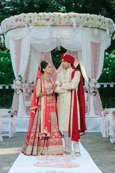 Indian couple mandap portrait http://www.maharaniweddings.com/gallery/photo/83423