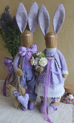 Купить Влюблённые зайки. Цена за пару. - тильда, тильда кукла, тильда заяц, комбинированный