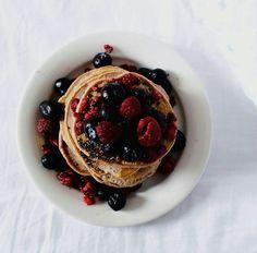 # pancakes # blueberries #healthy #happy # strawberries