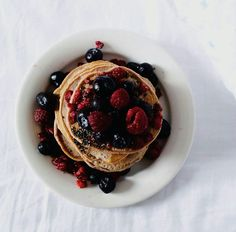 # pancakes # blueberries #healthy #happy # strawberries