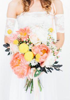ALLY + MATT // #flowers #bride #bouquet #bright #peach #white #yellow #green
