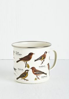 Bird Swatching Mug. Zoom in for a closer look at this delightful metal mug. #multi #modcloth