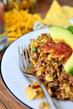 Homemade Crunchy Taco Hamburger Helper is hearty yet much healthier than the boxed version. Plus it's made in just 1 skillet and ready in 30 minutes.   iowagirleats.com