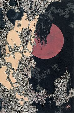Takato Yamamoto, Takato Tamaoto is interested in portraying famous occidental myths, such as Salome or Saint Sebastian. His graphic depictions of sex and death remind the work of English illustrator Aubrey Beardsley, one of the most controversial artist of the Art Nouveau era.