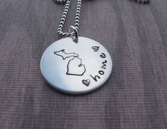 Michigan Necklace Michigan Home heart #puremichigan #michiganlove #michigan hand stamped michigan jewelry