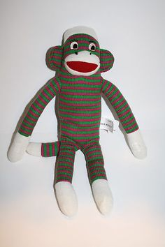 "Puzzle Mes Sock Monkey Plush 02512 Pink Green Stripes 15"" Stuffed Animal Toy"
