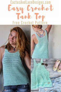 Crochet Tank Tops, Crochet Summer Tops, Crochet Shirt, Crochet Clothes For Women, Quick Crochet, Crochet Woman, Crochet Fashion, Blog, Crochet Designs