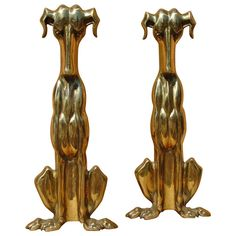 Pair of Art Deco Dachshund Andirons, circa 1930 | From a unique collection of antique and modern andirons at https://www.1stdibs.com/furniture/building-garden/andirons/