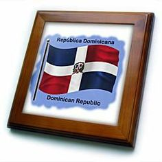 """Dominican Republic flag waving on a blue background. - 8x8 Framed Tile by 3dRose. $22.99. Keyhole in the back of frame allows for easy hanging.. Inset high gloss 6"""" x 6"""" ceramic tile.. Dimensions: 8"""" H x 8"""" W x 1/2"""" D. Cherry Finish. Solid wood frame. Dominican Republic flag waving on a blue background. Framed Tile is 8"""" x 8"""" with a 6"""" x 6"""" high gloss inset ceramic tile, surrounded by a solid wood frame with pre-drilled keyhole for easy wall mounting."""