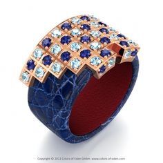 """""""Archimedes"""" by Harry Brunner - here we see fine rose gold in combination with blue leather. Find your favoured piece at www.colors-of-eden.com"""