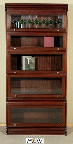 Solid Mahogany Stackable Barrister Attorney's Lawyer's Bookcase Bookshelf