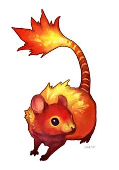The fire-rat (kaso) is a rat native to China. Its fur has special properties… Cute Fantasy Creatures, Mythical Creatures Art, Weird Creatures, Magical Creatures, Creature Concept Art, Creature Design, Cute Animal Drawings, Cute Drawings, Wolf Drawings