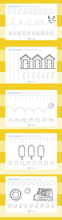 Printable Handwriting Worksheets for Kids: The seaside- Pencil control worksheets Preschool Writing, Preschool Worksheets, Preschool Learning, Writing Activities, Preschool Activities, Pre Writing, Writing Practice, Writing Skills, Handwriting Worksheets