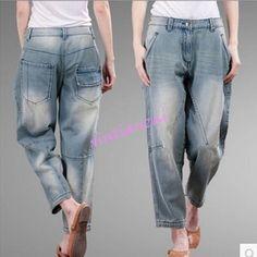 Womens Loose Hip Hop Cotton Blend Denim Retro Cropped Jeans Light Blue Pants