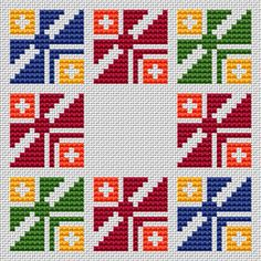 A colorful geometric cross stitch pattern.Suitable for biscornu making,borders,frames,covers and other projects.