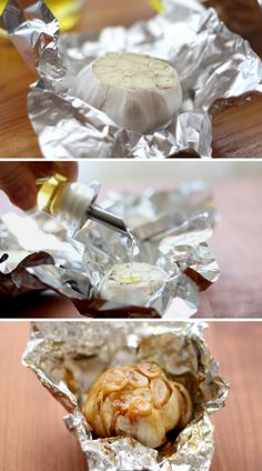 Roasted garlic Preheat oven to 400 degrees F (200 degrees C). Cut pointed head off. Wrap in foil leaving top open.   Drizzle cut top with olive oil. Bake for 40 minutes to 1 hour, when the garlic is soft and squeezable, it is ready. Remove, let cool, and serve.