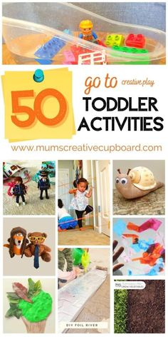 50 of the very best go to toddler activities - including toddler learning activities for 2 year olds and 3 year old activities at home - fine motor activities for toddlers and lots of easy toddler sensory activities inc sensory bins ideas for toddlers and lots of toddler painting ideas to try. There are so many simple creative play for toddlers ideas - there's something for everyone! #toddleractivities #sensoryplay #toddlerpainting #learningthroughplay Creative Activities For Toddlers, Activities For 2 Year Olds, Sensory Activities Toddlers, Sensory Bins, Motor Activities, Painting Activities, Toddler Play, Learning Through Play, Play To Learn