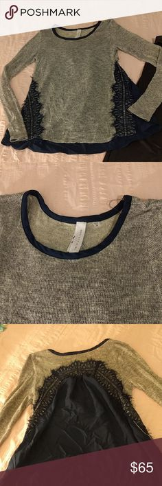 Lace Society Girl Sweater Super sweet Heather grey and many blouse. Love this!  This is a piece from my personal closet and I'd rather keep it than negotiate.. that being said, my bundles offer tremendous savings! Sweaters Crew & Scoop Necks