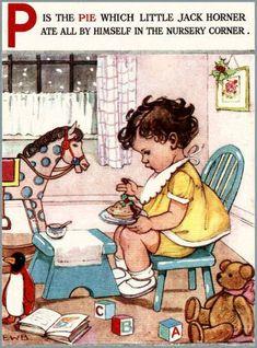 Nursery decor little boy rocking horse teddy bear vintage nursery rhyme print… Vintage Children's Books, Vintage Postcards, Nursery Rhymes Poems, Images Vintage, Vintage Nursery, Vintage School, Children's Book Illustration, Childrens Books, Book Art