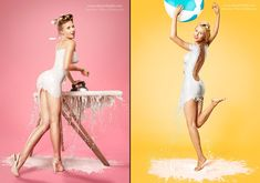 Traditional 40's Pinup Photos With Models Wearing High Speed Milk