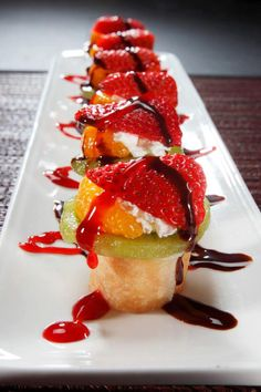 Fresh Fruit Sushi from Sushi RA's (in Vegas) Banana Split Maki? Our version of sushi for dessert, it's a fried banana maki, topped with whipped cream and fresh fruit and drizzled with raspberry and chocolate sauces.    http://www.rasushi.com/