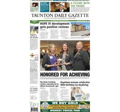 The front page of the Taunton Gazette for Thursday, April 17, 2014.
