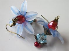 Blue Flower Earrings Lucite and Crystal by DanglingDesigns on Etsy, $25.00