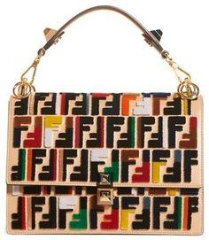 48943374a1 Fendi Kan I Logo Embellished Leather Shoulder Bag Longchamp