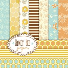 Honey Bee Paper Pack // Digital Papers // Bumble Bee Honeycomb Honey Comb // Yellow Gold Blue // Print // Seamless Pattern Tile // 12x12
