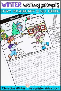 These Winter writing prompts will naturally differentiate your writing center! Each prompt has a story specific vocabulary word bank to assist young writers in brainstorming ideas and spelling word while writing. In addition, students can edit their work with the self editing checklists. This resource includes 10 engaging prompts.  #writingprompts #elementarywriting