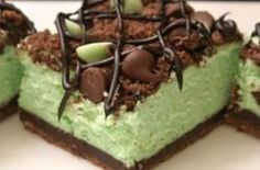 St. Patrick's Chocolate & Mint Cheesecake Bars
