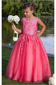 Discounted Long Natural Jewel Satin Sleeveless Flower Girl Dresses