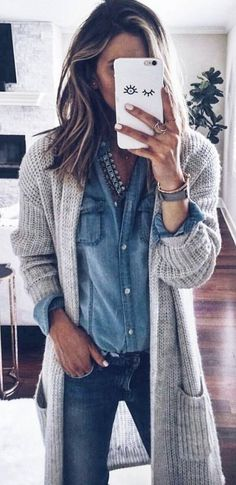 Denim shirt and long open front cardigan