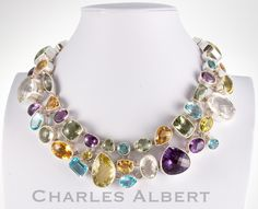 Style# LBN58: Multi-Gemstone Necklace set in sterling silver. Retail $ 3,900
