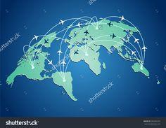 Výsledek obrázku pro world map flight paths