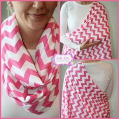 SALE Hold Me Close Nursing Scarf Pink Chevron, Nursing Cover, Infinity Scarf. $20.00, via Etsy.