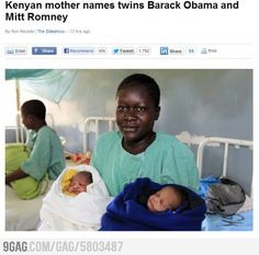 FORBES - Kenyan mother names twins Barack Obama and Mitt Romney CLICK THE IMAGE FOR MORE